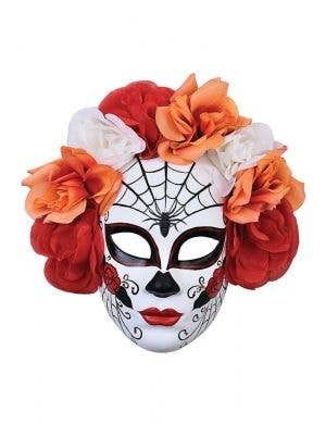 Full Face White Day of the Dead Mask With Spider Webs and Red And Orange Flowers