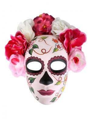 Full Face Soft Pink Day of the Dead Mask with Flowers
