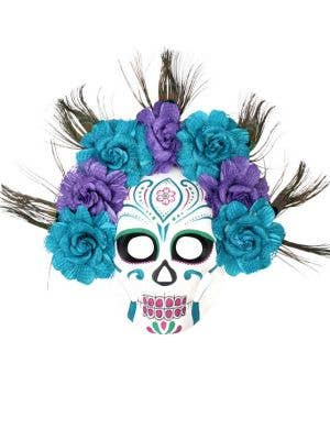 Sugar Skull Deluxe Mask with Flowers - Blue and Purple