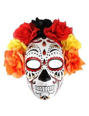 Orange Full Face Day of the Dead Mask with Flowers