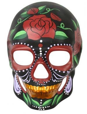 Black Full Face Sugar Skull Mask With Red Roses