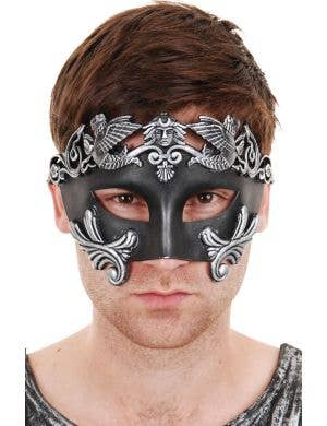 Men's Black And Silver Centurion Masquerade Mask Main
