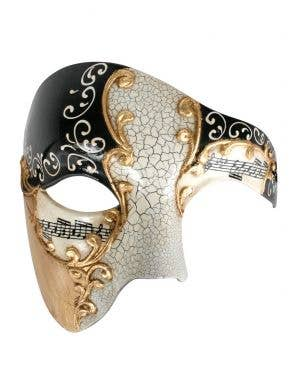 Cream And Black Men's Crackle Paint Over Eye Masquerade Mask