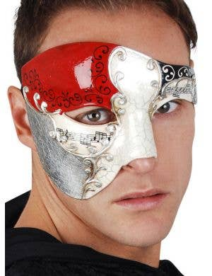 Men's Over Eye Red And White Crackle Paint Masquerade Mask Main