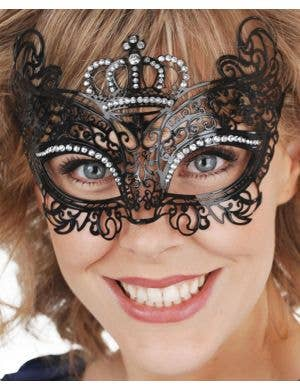 Princess Black Filigree Mask with Crown