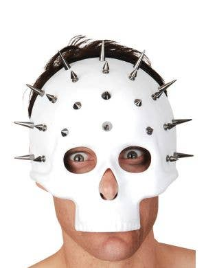 Matte White Spiked Skull Halloween Costume Mask Main Image