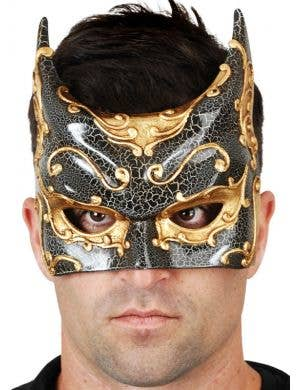 Crackle Paint Men's Black And Gold Batman Venetian Mask Main