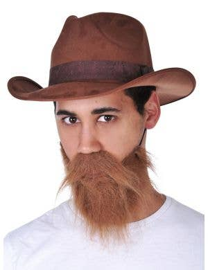 Brown Bushy Cowboy Beard And Moustache Costume Accessory Set