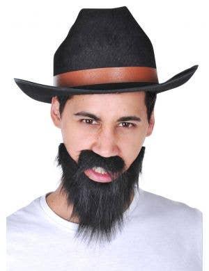 Men's Black Bushy Colonial Costume Beard And Moustache Set