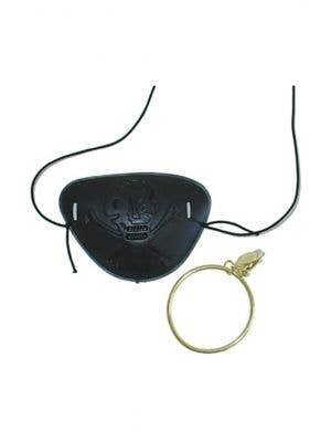 Black Pirate Eye Patch Earring Costume Accessory Set
