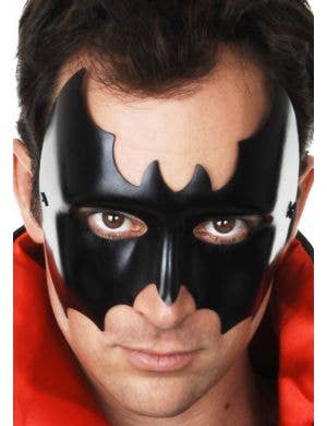 Men's Black Wet Look Batman Costume Mask Main