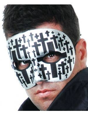 Men's Basic Silver Masquerade Mask With Black Crosses Main