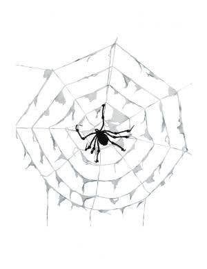 Tattered Grey Web With Spider Halloween Decoration