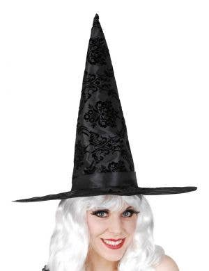 Flocked Black Velvet and Satin Witch Hat Costume Accessory
