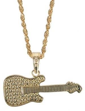 Gold Rock Star Guitar Costume Accessory Necklace