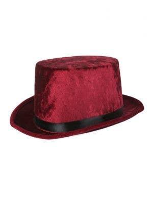 Maroon Velvet Adult's Costume Top Hat Accessory