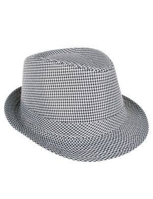 Black and White Checkered Fedora Hat Front View 6af4a428c4ea