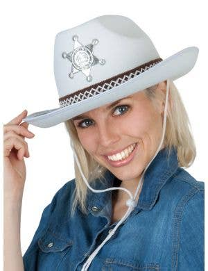 Adult's White Cowboy Hat with Sheriff Badge