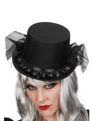 Black Satin Top Hat with Mesh Net and Ruffle - Close Up View