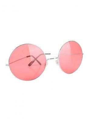 Retro Pink Large Round Hippie Costume Glasses Accessory