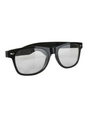 Retro Geek Black Frame Costume Spectacles Accessory