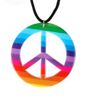 1960's Rainbow Hippie Peace Sign Necklace