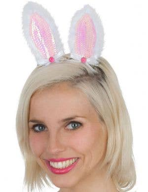 Clip-In Pink Sequined Bunny Ears
