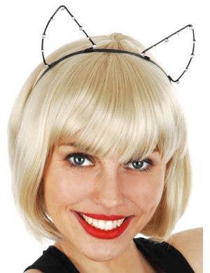 Diamante Black Cat Costume Ears
