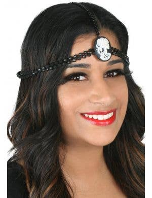 Black Head Chain with Beads and White Skeleton Cameo