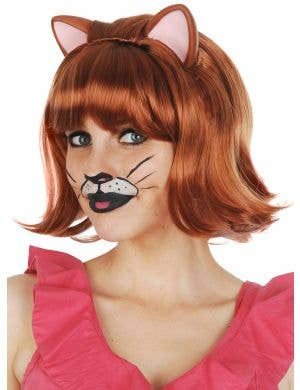 Ginger Cat Women's Auburn Red Bob Wig With Ears