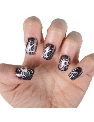 Black Glitter Spiderweb Fake Nails Halloween Accessory