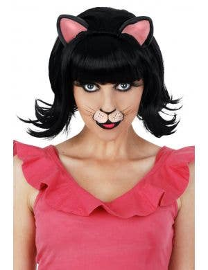 Black Kitty Women's Deluxe Black Bob Costume Wig with Ears