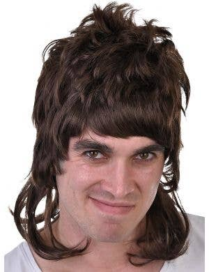 Dazza Men's Brown Bogan Mullet Costume Wig
