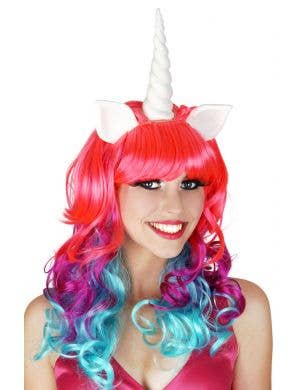 Unicorn Pink and Purple Curly Costume Wig with Horn and Ears
