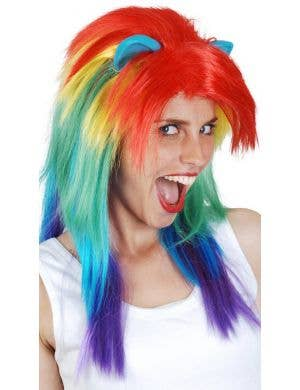Rainbow Dash Women's Long Costume Wig with Ears