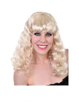 Mid Length Curly Blonde Women's Costume Wig with Fringe