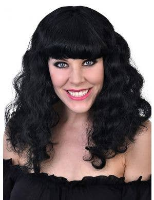 Katie Women's Long Black Curly Costume Wig With Fringe
