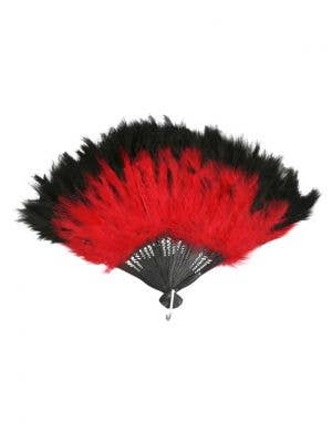 Hand Held Feather Fan in Red and Black