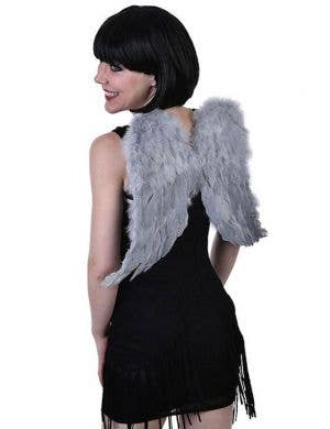 Small Light Grey Feather Angel Wings Costume Accessory
