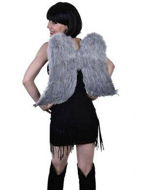 Large Light Grey Feather Angel Wings Costume Accessory