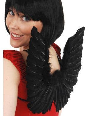 Mini Black Feather and Silver Tinsel Costume Wings