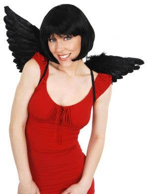 Dark Angel Mini Black Feather Wings Accessory