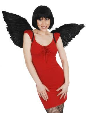 Black Dark Angel Feather Wings Costume Accessory