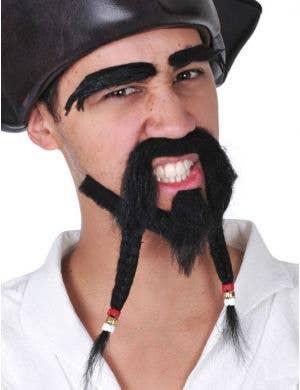 Jack Sparrow Black Plaited Pirate Costume Beard Set