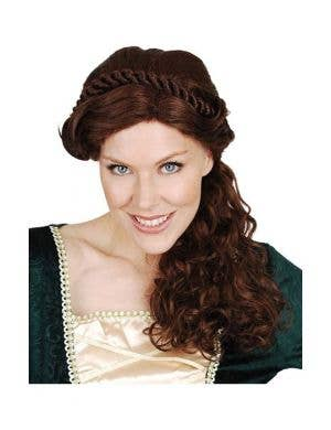 Mary Brown Medieval Renaissance Womens Costume Wig with Braids and Curls View 1