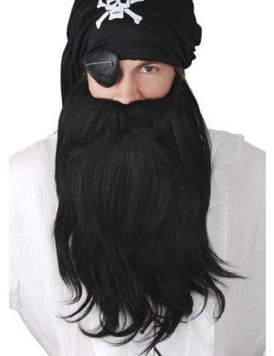 Long Black Bushy Pirate Men's Costume Beard
