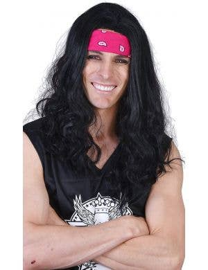 Ritchie Men's Long Black Costume Wig and Bandanna