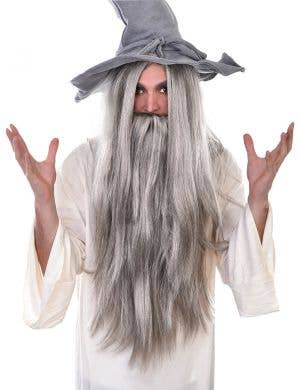 Long Grey Wizard Costume Wig and Beard Set