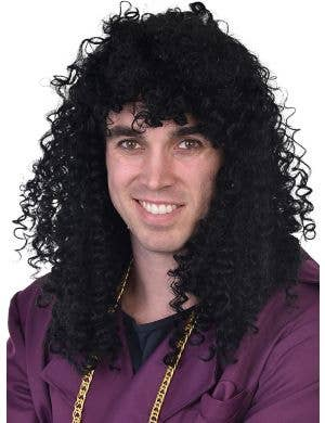 1980's Men's Rick James Black Curly Costume Wig