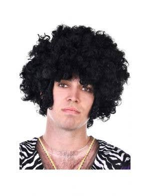 1970's Disco Men's Black Afro Wig with Side Chops